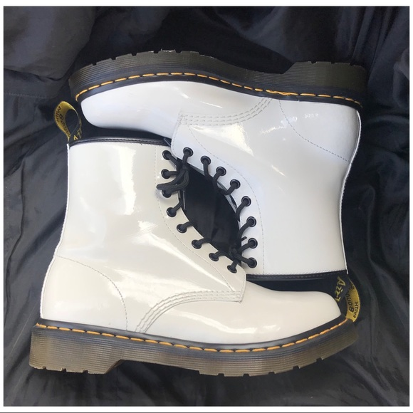 white patent leather doc martens Dr